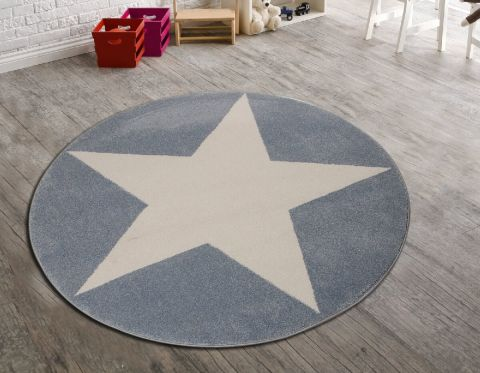 Yuvarlak Büyük Yıldızlı Mavi Halı Fiyatları- Satın Al
